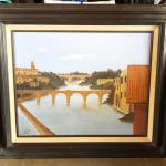 Lot 107 Painting European Bridge Over River Buildings Yanez D. 1982