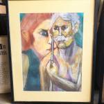 ART 45 Pastel Drawing by Sid Hoskins Long Beach Artist Shooting Pool