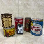 -221- VINTAGE | Five Kitchen Tins | Coffee | Baking Powder