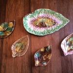 Set of 5 Antique Majolica Begonia Leaf Dishes