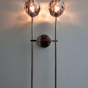 Photo of Boule De Cristal Grand Double Sconce - Crystal Light - Polished Nickel And Smoke