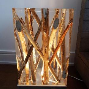 Photo of Custom Made Acrylic End Tables - Art & Branches - Cool Lamp Light - Unique Desig