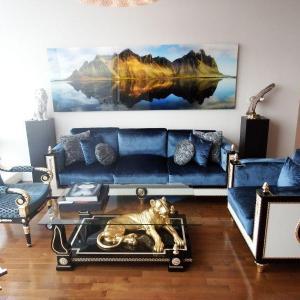 Photo of Mariner Wellington blue velvet living room set - sofa chair coffee table