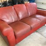 Weathered leather sofa sleeper.  FREE