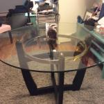 Heavy glass dining table