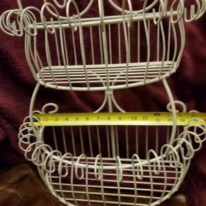 Photo of Cottage look 3 tier metal display wall basket
