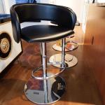 Set of Three 3 Leather Bar Stool Stools - Modern Black Design