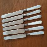 Set of Six Antique Mother of Pearl Handled Knives