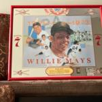 "Willie Mays Seagram's 7 Crown mirror 21"" red frame"