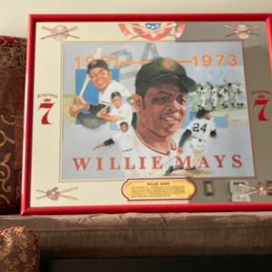 "Photo of Willie Mays Seagram's 7 Crown mirror 21"" red frame"