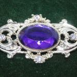Amethyst Colored Silver Tone Victorian Style Brooch