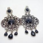 Victorian Silver Tone Filigree Drop Earrings