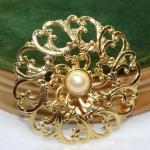 Oval Filigree Gold Tone Center Pearl Pin