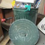 Metal Garbage Can (With Lid) Full of Miscellaneous Goods