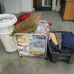 Collection of Linens, Laundry Baskets, Rolling Basket, Etc.- Please See All Pict
