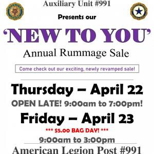 Photo of NEW TO YOU annual rummage sale
