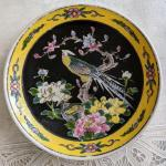 Lot 283 s Decorative plate with removable handle Vintage Japan Bird Flowers Yell