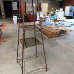 "Salvage Art Metal Tube Lamp Stand with Glass Shelves and Wicker Vase Shade 24""x7"
