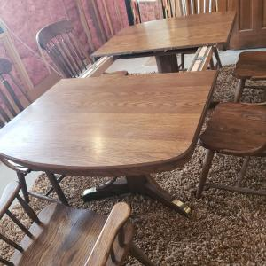 Photo of Solid Oak Dining Room Table & Chairs