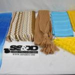 6 pc Scarves: 2 blue, 2 yellow, 2 brown