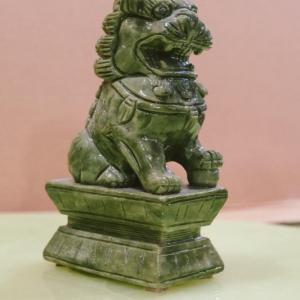 Photo of Pair of Hand-Carved Foo Dogs Light-Green Jade
