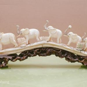 Photo of Bone Sculpture - Elephant Crossing with ball