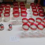 Box 111 Crystal glasses with red tops