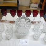 Box 23 Cut glass and red stemware