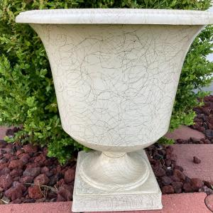 Photo of Vintage Flower Urn - resin/hard plastic WHITE  with GOLD SWIRLS