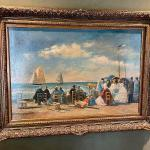 Late 19th C Original Euro Beach Scene Oil Painting