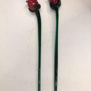 Photo of Pair of Blown Glass Long Stem Red Roses