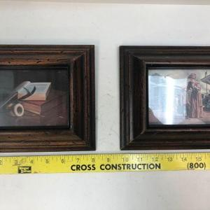 Photo of Pair of Small Art Prints in Dark Wood Frames