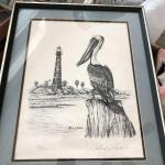 Signed Pelican / Lighthouse Roland Castanie artwork