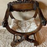 Antique Neo Gothic Savonarola Music Chair