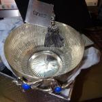 Silver Plated Jewelry Trinket Bowl Dish, Silver flowers,  Taneez Lapis Gem Stone