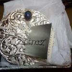 Silver Plated Jewelry Trinket Dish, Taneez Lapis Gem Stone