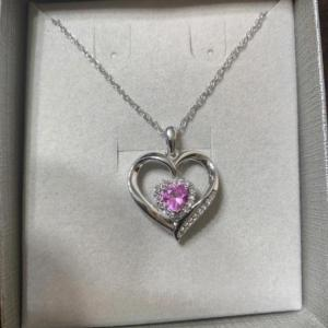 Photo of Zales pink and white sapphire heart necklace