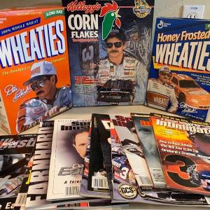 Photo of Dale sr and dale jr cereal, magazine and Coca Cola bottles lot