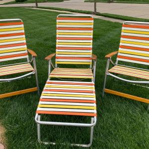 Photo of TELESCOPE Folding Furniture lawn  2 chairs . 1 lounge 1970's