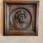 Pair - Charming Carved Deep Relief Portrait Plaques
