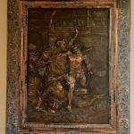Victorian Repousse Copper Gladiator Scene Men Wrestling