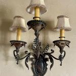 Medallion Mounted French Iron Antique Wall Sconces