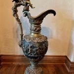 Monumental Greek Figural High Relief Bronze Floor Ewer with Cherubs