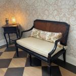 Gorgeous restored antique bench with custom cushion and pillow