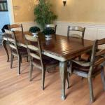 Gorgeous dining table with six chairs.