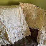 Lace bed skirt, 2 shams, topper and full size duvet cover