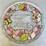 Lot 194  Round Cement & Mosaic Garden Stepping Stone