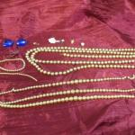 Lot 39 - (3) Faux Pearl Chains & Unmatched Earrings