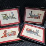 Lot 283 - Set Of Locomotive Pictures - Trapunto Embroidery