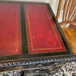 Beautiful chinoiserie antique desk with red leather top